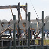 Salem:<br /> Erecting the framework for the rebuilding of Pedrick's store house which will be located at the Central Wharf.<br /> Photo by Ken Yuszkus/Salem News, Monday September 15, 2008.