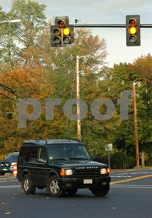 Wenham:<br /> Bessie Marilyn Oro had just threw the switch minutes ago to make the new traffic lights function on the corner of Maple Street and Topsfield Road.<br /> Photo by Ken Yuszkus/Salem News, Tuesday October 14, 2008.