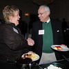 Beverly:<br /> From left, Kim Stone of Stone Digital Productions, and Ken Hanover of Beverly Hospital, attend the Beverly Chamber of Commerce breakfast held at Tupper Manor on Friday morning.<br /> Photo by Ken Yuszkus/Salem News, Friday, January 14, 2011.