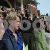 Salem:<br /> Danuta Lubicka of Peabody, left, was one of 42 people taking the oath to become a United States citizen during the naturalization ceremony on the steps of the Custom House on thursday morning. Danuta was originally from Poland.<br /> Photo by Ken Yuszkus/Salem News, Thursday September 25, 2008.