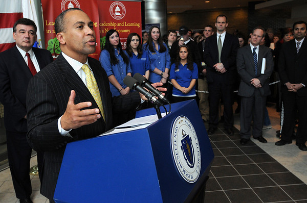 Danvers:<br /> Gov. Deval Patrick speaks in the front lobby at North Shore Community College. He was there to tout ARRA funding and a solar panel project for the Berry Building.<br /> Photo by Ken Yuszkus/Salem News, Thursday, February 25, 2010.