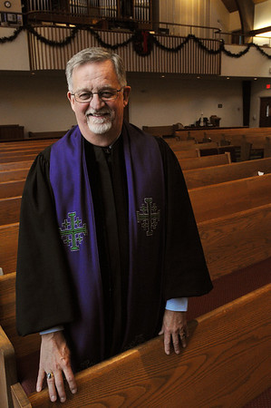 Beverly:<br /> Rev. Dr. Craig Collemer will give his last Christmas eve sermon at the First Baptist Church of Beverly.<br /> Photo by Ken Yuszkus/Salem, News, Wednesday,  December 22, 2010.