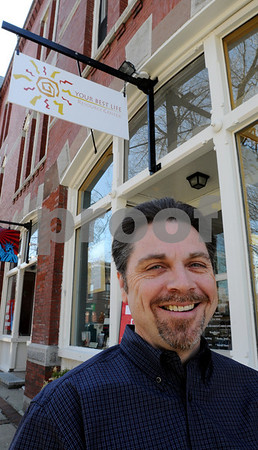 Beverly:<br /> Steve Kennedy, co-founder of Your Best Life Resource Center, stands in front of the business. The new business recently opened in downtown Beverly.<br /> Photo by Ken Yuszkus/Salem News, Monday, April 13, 2009.