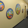 Peabody:<br /> John Scalfreto and Joanne Coughlin along with some children created these pieces which are part of the collection of artwork exhibited at Boston Children's North Hospital in Peabody.<br /> Photo by Ken Yuszkus/Salem News, Thursday, February 24, 2011.