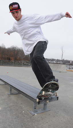 Beverly:<br /> Mike Howard, of Beverly, practices his ledge maneuver at McPherson Skate Park.<br /> Photo by Ken Yuszkus/Salem News, Thursday,  February 16, 2012.