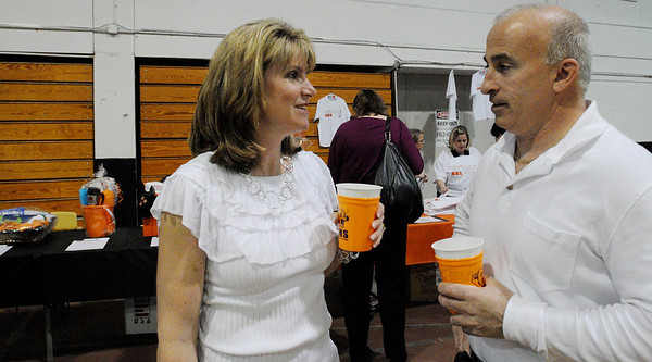 Beverly:<br /> Tracey Slavon, from the class of 1985, and her husband, Michael, both from Beverly, attended the farewell party for the high school field house, which is going to be demolished.<br /> Photo by Ken Yuszkus/Salem News, Friday, April 23, 2010.