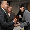 Salem:<br /> From left, Governor Deval Patrick, Gloucester mayor Carolyn Kirk, and Salem mayor Kim Driscoll chat after the governors talk at the Mass Mayors Association meeting held at Salem State University.<br /> Photo by Ken Yuszkus/Salem News, Wednesday, February 16, 2011.