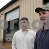Ipswich:<br /> John Thebeau, left, brand manager and partner, and Daniel Lipke, brewer, stand in front of the Mercury Brewing Company. The company has outgrown their manufacturing facilities and are expanding to a new building.<br /> Photo by Ken Yuszkus/Salem News, Thursday, March 19, 2009.