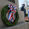 Peabody:<br /> A wreath was placed at the Lexington Monument as part of the ceremonies honoring the fallen soldiers from South Danvers (Peabody) at the Battle of Lexington at the start of the Revolutionary War. The ceremonies were at the Lexington Monument on Washington Street on Monday morning.<br /> Photo by Ken Yuszkus/Salem News, Monday, April 18, 2011.