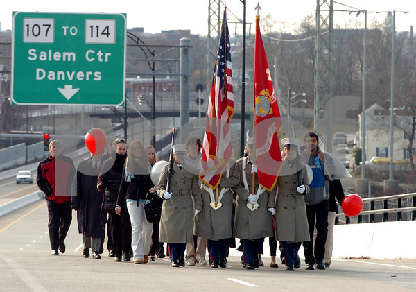 Salem:<br /> At the start of the annual Bridging the Gap ceremonies, both Salem, pictured, and Beverly marched to the middle of the Veterans Memorial Bridge. Students, faculty, and politicians from both Salem and Beverly spoke during the proceedings at the Salem/Beverly town line.<br /> Photo by Ken Yuszkus/Salem News, Monday November 24, 2008.