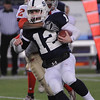 Foxboro:<br /> St. John's Prep's Tommy Gaudet gets hit from behind at the St. John's Prep vs Everett High School in the Division 1 Super Bowl football game at Gillette Stadium on Saturday.<br /> Photo by Ken Yuszkus/Salem News, Saturday, December 4, 2010.