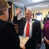 Beverly:<br /> Mayor Bill Scanlon takes the oath of office from Frances Macdonald, city clerk, during the inaugural ceremony in the council chamber of the city hall. His wife, Louise, is at his side.<br /> Photo by Ken Yuszkus/Salem News, Monday, January 4, 2010