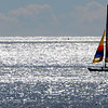 Beverly:<br /> A catamaran sails out of Beverly Harbor on a calm sparkling ocean. The weather is seasonably bright and warm during the day.<br /> Photo by Ken Yuszkus/Salem News, Wednesday,  September 15, 2010.