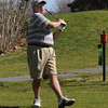 Beverly:<br /> Dave Lops, of Beverly, tees off while playing golf at the Beverly Golf & Tennis Club on Friday.<br /> Photo by Ken Yuszkus/Salem News, Friday,  March 23, 2012.