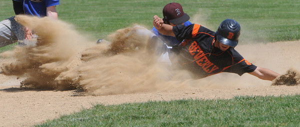 Beverly:<br /> Beverly's Anthony D'Orio slides safe into second base on a steal past Belmont's Danny Donahue during the Belmont at Beverly High state tournament baseball game.<br /> Photo by Ken Yuszkus/Salem News, Thursday, May 31, 2012.