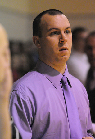 Peabody:<br /> Peabody's head coach Thad Broughton at the Peabody at Bishop Fenwick boys basketball game.<br /> Photo by Ken Yuszkus/Salem News, Tuesday, December 27, 2011.