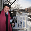 Ipswich:<br /> Thomas Bentley, housing co-ordinator for the town of Ipswich, stands on the deck of the apartment at 21-23 S. Main Street which overlooks the Ipswich River.<br /> Photo by Ken Yuszkus/Salem News, Friday, January 22, 2010.