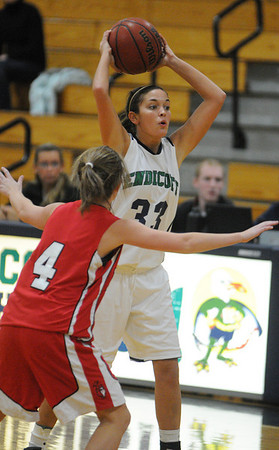Beverly:<br /> Nicole Heffernan gets ready to throw the ball during the Endicott women's basketball game vs. Keene State at Post Center gymnasium at Endicott College.<br /> Photo by Ken Yuszkus/Salem News, Tuesday,  December 7, 2010.