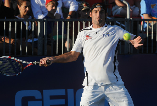 Middleton:<br /> Boston Lobsters' Robby Ginepri is ready to wallop the ball during the Boston Lobsters pro tennis team home (and season) opening match against the Sacramento Capitals at the Joan Norton Stadium.<br /> Photo by Ken Yuszkus/Salem News, Monday, July 9,  2012.