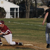 Beverly:<br /> Beverly's Brad Surette doesn't make it to first before the ball is thrown to Newburyport's Ryan O'Connor during the Newburyport at Beverly baseball game at Cooney Field.<br /> Photo by Ken Yuszkus/Salem News, Monday, April 11, 2011.