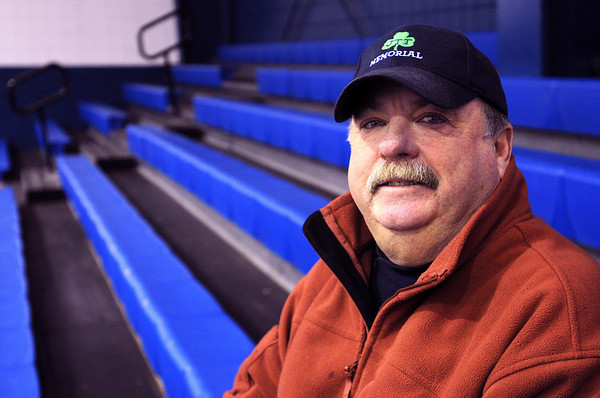 """Peabody:<br /> Robert """"Bo"""" Tierney, who is being honored with a Hall of Fame coaching citation from the state, is at the McVann-O'Keefe Rink. <br /> Photo by Ken Yuszkus/Salem News, Monday, March 15, 2010."""