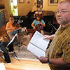 Belmont:<br /> From left, Orlando Cela, flute, Maria Benotti, violin, Sarah Freiberg, cello, Neil Fairbairn, bassoon, hidden, and John Wallace, composer, all with Music at Eden's Edge, practice John Wallace's musical tribute to the North Shore while at a home in Belmont.<br /> Photo by Ken Yuszkus/Salem News, Tuesday, June 15, 2010.