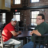 Salem:<br /> Cleber Santos, owner, left, and Shane Andruskiewicz, general manager, of the Great Escape restaurant, sit at a table in the dining room at the restaurant. The restaurant will be opening soon.<br /> Photo by Ken Yuszkus/Salem News, Friday,  August 20, 2010.