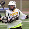 Peabody:<br /> Joe Shea brings the ball down field at the Austin Prep at Bishop Fenwick boys lacrosse game.<br /> Photo by Ken Yuszkus/Salem News, Monday, April 4, 2011.