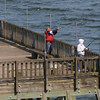 Beverly:<br /> Joe Meara and wife, Patti, fish off the pier in Beverly. The fish were not biting, but the two were got plenty of fresh air on a sunny Monday afternoon.<br /> Photo by Ken Yuszkus/Salem News, Monday, May 7, 2012.