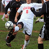 Topsfield:<br /> Tyler Amore gives the ball a good kick during the Newton North at Masconomet boys soccer Division 1 North state tournament game.<br /> Photo by Ken Yuszkus/Salem News,  Tuesday,  November 9, 2010.