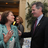 Salem:<br /> Janice Kostopoulos, of Coldwell Banker, speaks with Senator Scott Brown at the beginning of the Salem Chamber of Commerce luncheon held at the Hawthorne Hotel.<br /> Photo by Ken Yuszkus/Salem News, Wednesday, April 20, 2011.