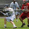 Hamilton:<br /> Hamilton-Wenham's Matt Curran gets a stick in the face by a Bishop Connelly player during the Bishop Connolly at Hamilton-Wenham boys Lacrosse East Division 3 state tournament opening game.<br /> Photo by Ken Yuszkus/Salem News, Friday, June 3, 2011.