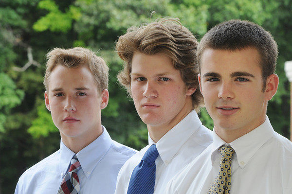Danvers:<br /> Three of St. John's Prep hockey players from left, Brian Pinho, Tyler Bird, and Jack McCarthy, each went to national hockey camps this summer.<br /> Photo by Ken Yuszkus/The Salem News, Monday, September 10, 2012.