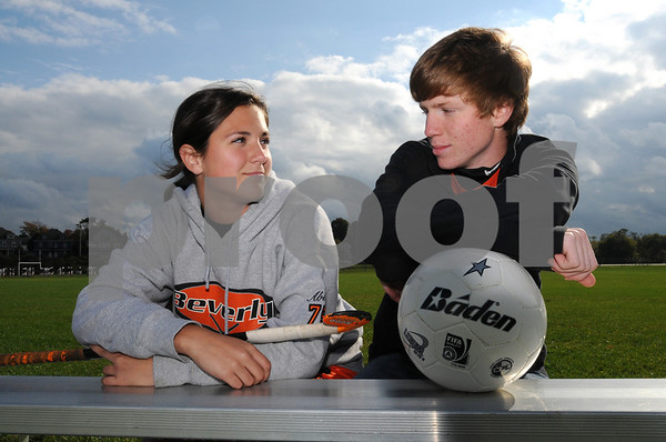 Beverly:<br /> Beverly High athletes Abby Fleming and Jake Petronzio are seniors at Beverly High who are also cousins.<br /> Photo by Ken Yuszkus/Salem News, Tuesday October 13, 2009.