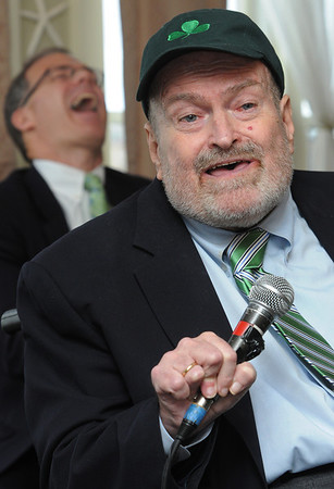 Salem:<br /> Sen. Fred Berry cracks a joke as John Keenan laughs in the background.  Sen. Fred Berry, who is retiring, was the guest of honor at John Keenan's annual St. Patrick's breakfast.<br /> Photo by Ken Yuszkus/Salem News, Friday,  March 16, 2012.