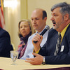 Peabody:<br /> From left, Dick Moody, Phyllis Sagan, Dr. Louis Laz, listen to Paul Pepper speak. They are all profiled in the North Shore 100 magazine and are the panel of business leaders speaking at the North Shore 100 Breakfast. The Economic & Public Policy Breakfast Forum was held at the  Peabody Marriott Hotel.<br /> Photo by Ken Yuszkus/Salem News, Wednesday, April 6, 2011.