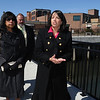 Salem:<br /> Tina Brooks, left, undersecretary of Massachusetts Department of Housing & Community Development, and Salem Mayor Kim Driscoll walk along Harbor Walk after the ceremony outside St. Joseph's Church to kick off an affordable housing project at the site.<br /> Photo by Ken Yuszkus/Salem News, Tuesday, March 29, 2011.