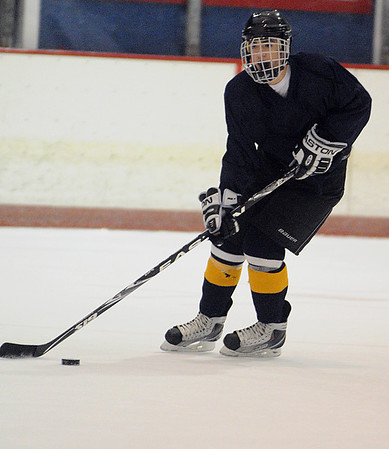 Peabody:<br /> Bishop Fenwick's Mike Cipriani at practice at McVann-O'Keefe Rink.<br /> Photo by Ken Yuszkus/Salem,  News, Tuesday,  December 21, 2010.