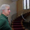 Wenham:<br /> Jim Mullen talks about the main staircase in Penguin Hall. Penguin Hall will become a Senior Independent Living complex.<br /> Photo by Ken Yuszkus/The Salem News, Thursday, August 9, 2012.