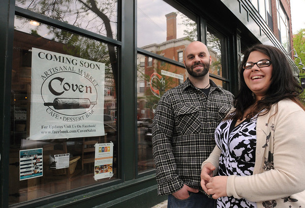 Salem:<br /> Robert Trezza and Jen Vourlos, co-owners of the new restaurant, Coven, stand in front of the new buisness.<br /> Photo by Ken Yuszkus/Salem News, Thursday, May 6, 2010.