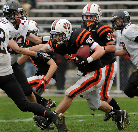 Beverly:<br /> Beverly's Brendan Flaherty heads down field with the ball during the Marblehead at Beverly football game in Hurd Stadium on Saturday.<br /> Photo by Ken Yuszkus/Salem News,  Saturday,  November 6, 2010.