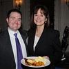 Beverly:<br /> From left, Brad Hunt of Salem Five Bank, and Nancy Furnari of Danvers Bank, attend the Beverly Chamber of Commerce breakfast held at Tupper Manor on Friday morning.<br /> Photo by Ken Yuszkus/Salem News, Friday, January 14, 2011.