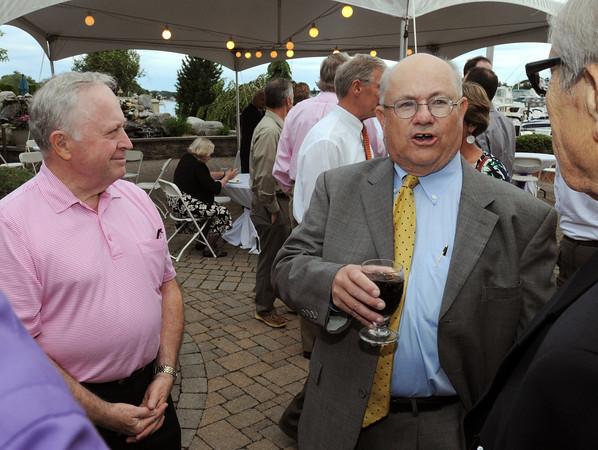 Danvers:<br /> Beverly Mayor William Scanlon, left, listens to Nelson Benton speak at Nelson Benton's retirement party which was held at the Danvers Yatch Club.<br /> Photo by Ken Yuszkus/Salem News, Wednesday, June 27,  2012.