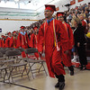 Salem:<br /> Valedictorian Jesus Morales leads the processional into the Salem High gymnasium for the graduation.<br /> Photo by Ken Yuszkus/Salem News, Friday, June1, 2012.