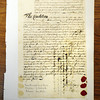 Danvers:<br /> This is a 1719 deed. It was one of nine documents looted from Virginia during the Civil War.<br /> Photo by Ken Yuszkus/Salem News, Monday, April 23, 2012.