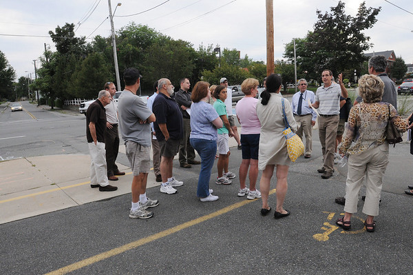 """Peabody:<br /> Stopping on their walk on Main Street in Peabody on Tuesday evening are planners who are looking for ways to improve the """"corridor"""" from Peabody to Salem.<br /> Photo by Ken Yuszkus/Salem News, Tuesday August 17, 2010."""
