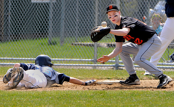 Beverly:<br /> Peabody's Andrew Bucci slides back to first as Beverly's Mark Hannable gets the throw during a pick off try at the Peabody at Beverly baseball game at Cooney Field.<br /> Photo by Ken Yuszkus/Salem News, Wednesday, April 21, 2010.