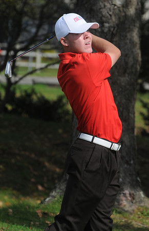 Beverly:<br /> Central's Joe Leavitt hits off the 12th tee at the Division 1 North golf sectionals at Beverly Golf and Tennis Club.<br /> Photo by Ken Yuszkus/Salem News, Monday, October 24, 2011.
