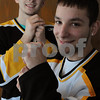 Peabody:<br /> Dale Crispin, left, and Mark Sparaco, are two Bishop Fenwick senior hockey captains who are also two of the highest scoring players in North Shore hockey.<br /> Photo by Ken Yuszkus/Salem News, Tuesday,  February 3, 2009.