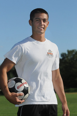Peabody:<br /> Doug Garabedian, who scored his 100th high school point on Monday night, is at soccer practice at Bishop Fenwick.<br /> Photo by Ken Yuszkus/Salem News, Tuesday,  September 14, 2010.